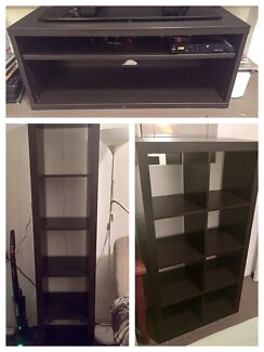 IKEA Black-Brown Mosjo TV Stand and Kallax Shelving Units