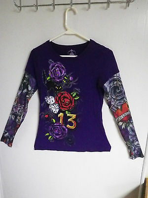 BODY CUERPO LADIES SIZE M TOP PULL OVER UNLUCKY 13 TATOO SLEEVES BLOUSE