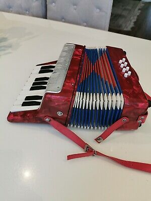 8- bass Children Accordion 17 Keys Buttons Piano Kids  Toy Shoulder Straps Red