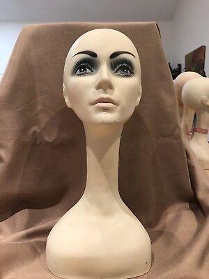 Authentic Vintage Mannequin Head Bust Hat Wig Display #1