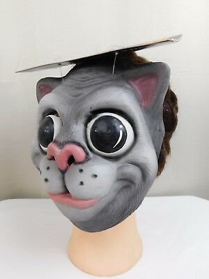 Cosplay, Halloween Animal Head Cat Face Mask Grey-White One Size - Cat Head Mask