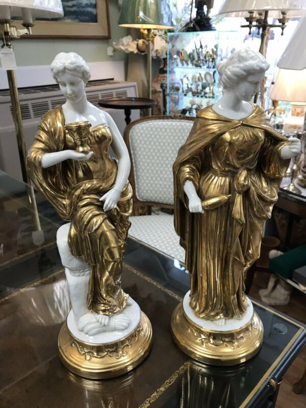 Pair of beautiful 18k Gilt Statues
