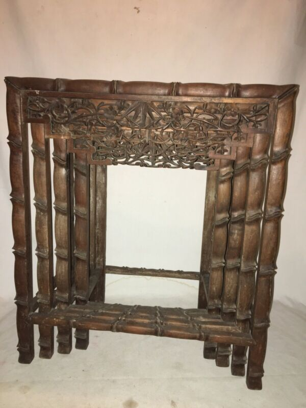 Carved Nesting Tables Set Of 4 Chinese Antique