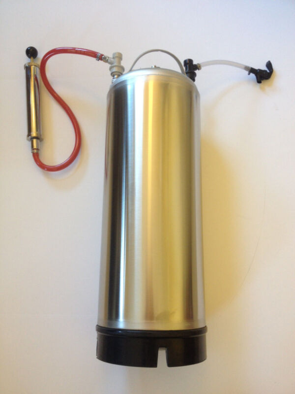 5 Gallon Ball-Lock Coffee Keg with Hand Pump and Faucet.  Portable