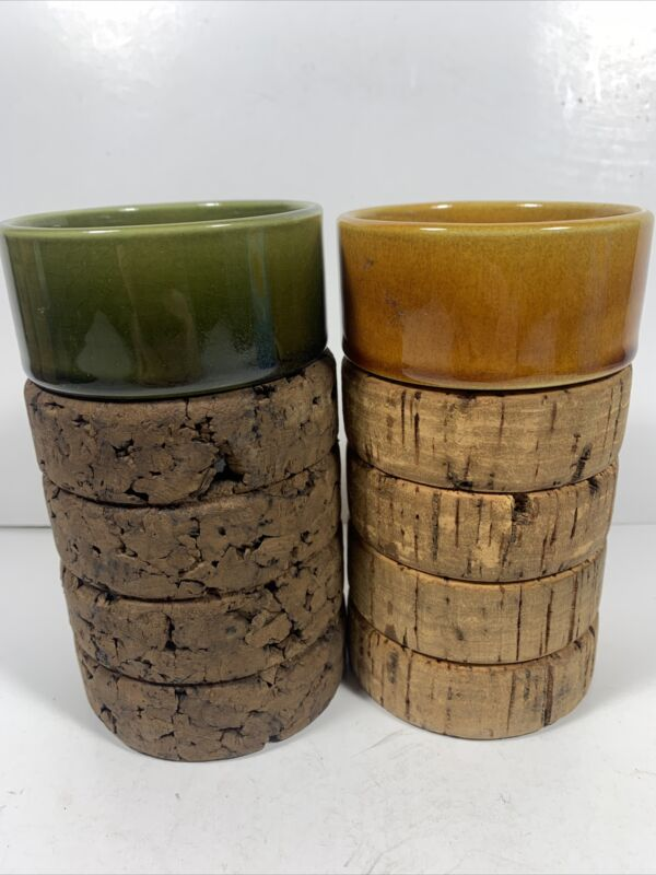"2 Made In Portugal Ceramic And Cork Drinking Cups 5"" Tall 3"" Diam"