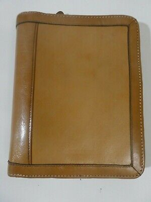 Franklin Covey Compact 6 Ring Zip Vintage Brown Leather Planner Binder 1 Ring