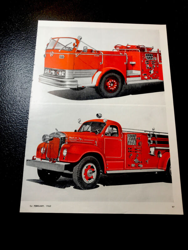 🔥 1960 Mack Fire Truck Color Advertising Ad - Emergency Rescue 🔥