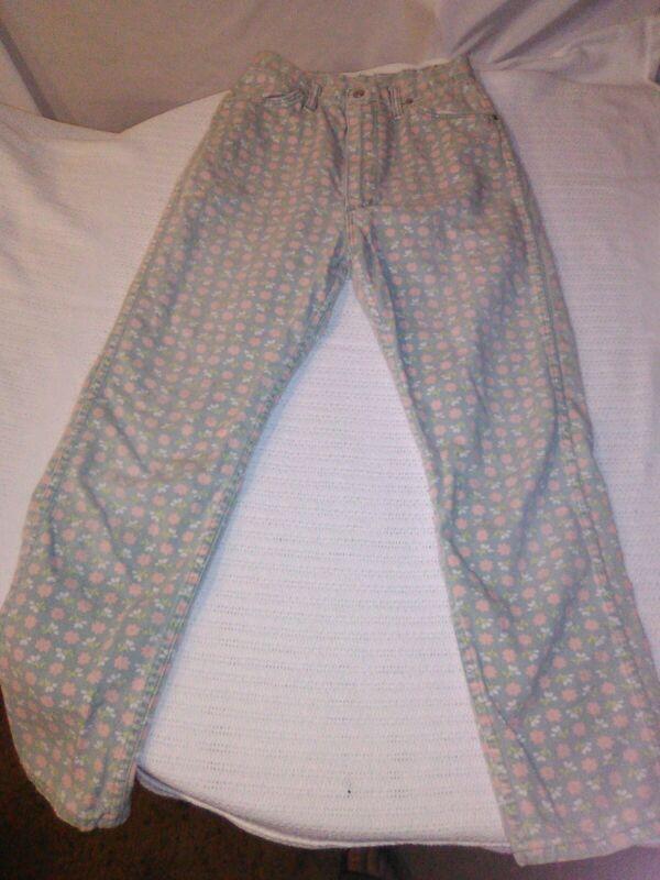 Vintage Wrangler Pants Jeans  Flower Print Girls sz 16 misses
