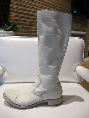 ROCCO P for BARNEYS NEW YORK, White Hand Stitched Leather Boots, 37