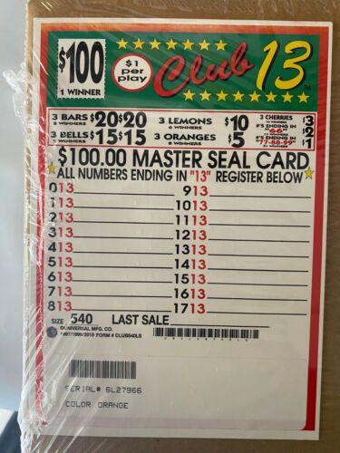 """""""Club 13"""" 1 Window Pull Tab 540 Tickets  Free Ship USA"""
