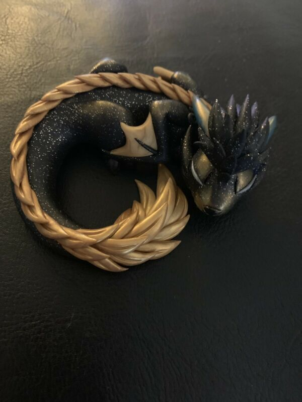 Black And Gold Hand Crafted Polymer Clay Dragon