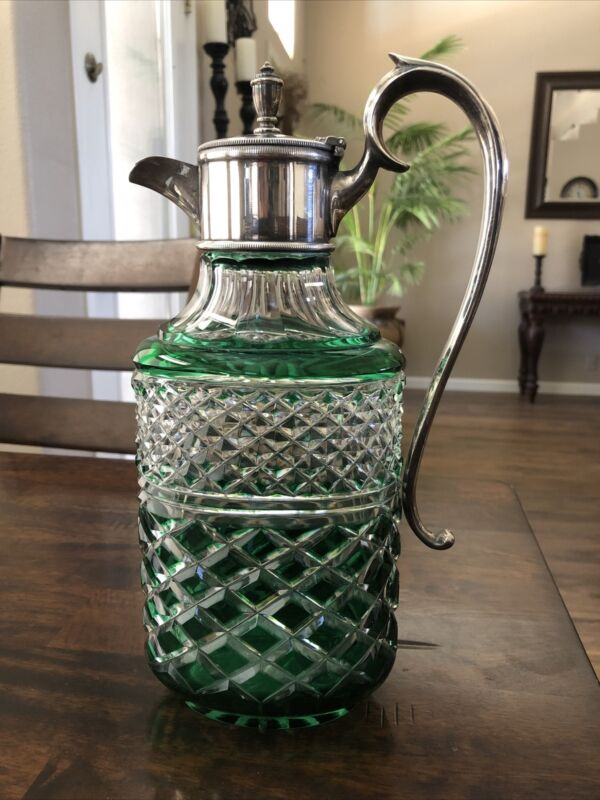 Beautiful Silver Plated Wine Liquor decanter Green colored glass antique vintage