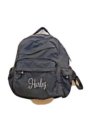 Hurley Logo Skateboard Deck Strap Black Five Outside Pockets Medium Backpack Bag