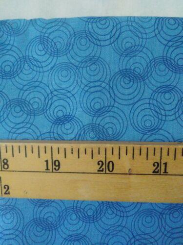 Blue Circles On Blue FQ 100 Cotton Fabric Quilt Sew Craft - $1.90