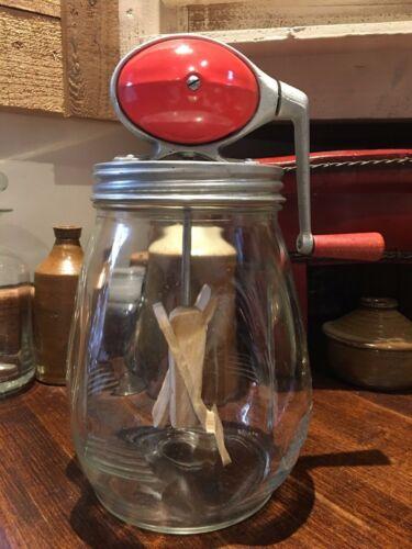 ANTIQUE DAZEY BUTTER CHURN NO 4 RED BALL FOOTBALL GLASS JAR EXCELLENT