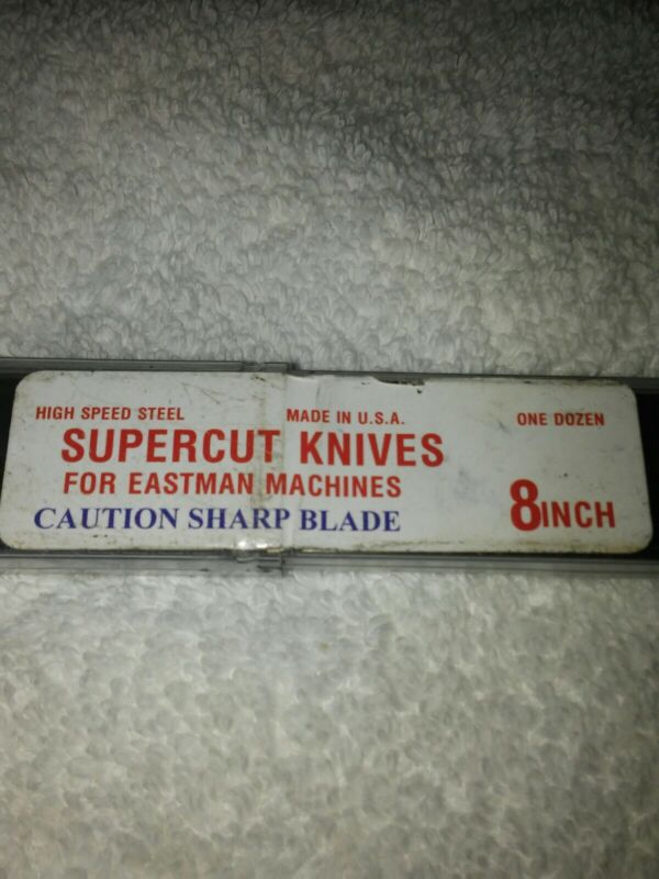 """12 Pk. 8"""" Made In USA HSS Straight Knives For Eastman Cutting Machine"""