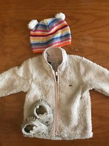 Baby Gap Hat and Moccasins and MEC fleece coat