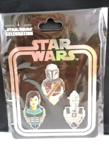 Star Wars Celebration Anaheim 2020 Mandalorian 3 pin set-Mando, IG-11, Cara Dune