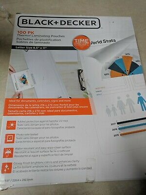 Lot Of 2 Blackdecker Timeshield Uv Thermal Laminating Pouches. 5 Mil 100 Pack