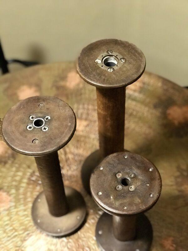 Set of 3 -Vintage Industrial Wood Textile Mill Spools Bobbins Spindles Yarn