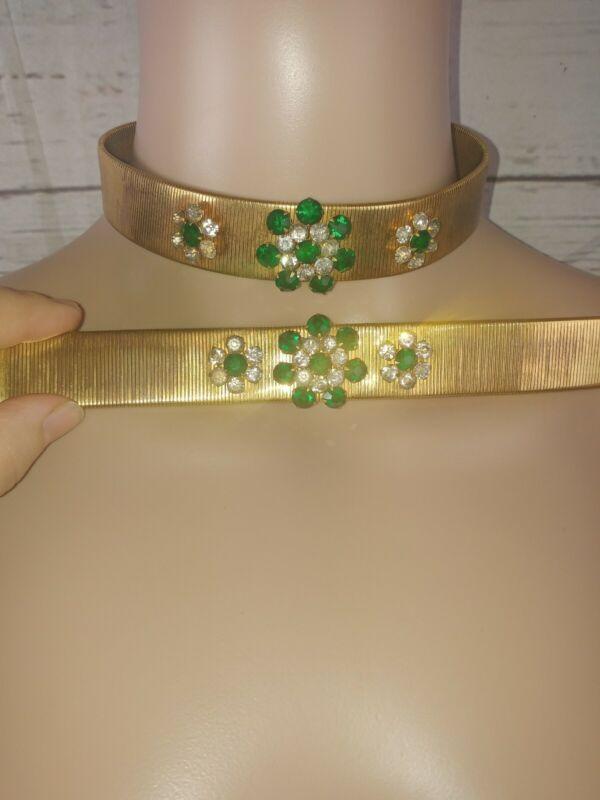 Vintage Goldtone Choker Necklace Bracelet Green Emerald Rhinestone Set
