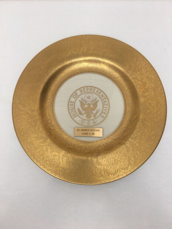 Pickard China House of Representatives USA Gold Etched Plate Bill Dannemeyer