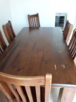 Solid 1.8m wooden table and 6 chairs