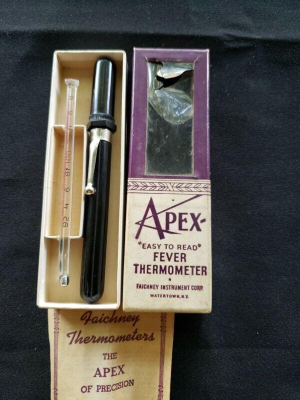 Vtg APEX Fever Thermometer-Plastic Pocket Case-Original Box-Faichney Instrument