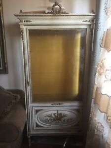 Antique French Louis XVI curio display cabinet
