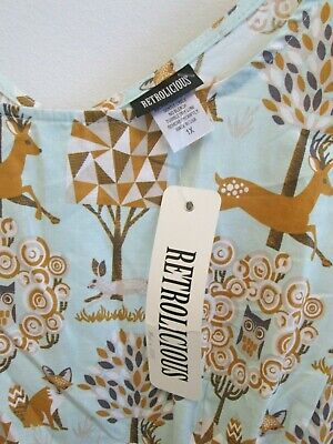 Green Deer (Retrolicious Modcloth forest deer plus size 1x dress green and brown)