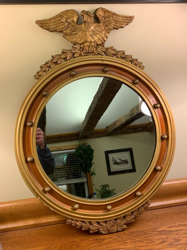 Lg Antique Early 1900s Wood Federal Eagle Gold Gilt 13 Ball Round Mirror Vintage