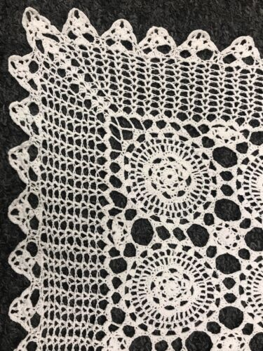 Купить White 14x34 Cotton Vintage Handmade Crochet Lace Table Runner Placemat Cover
