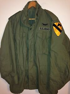 GENUINE-US-ARMY-M-65-FIELD-JACKET-1st-CALVARY-AIR-CAV-PILOT-MED-LARGE