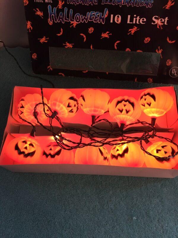Vintage Halloween Pumpkin  String Light Set - 10 Lights Preowned
