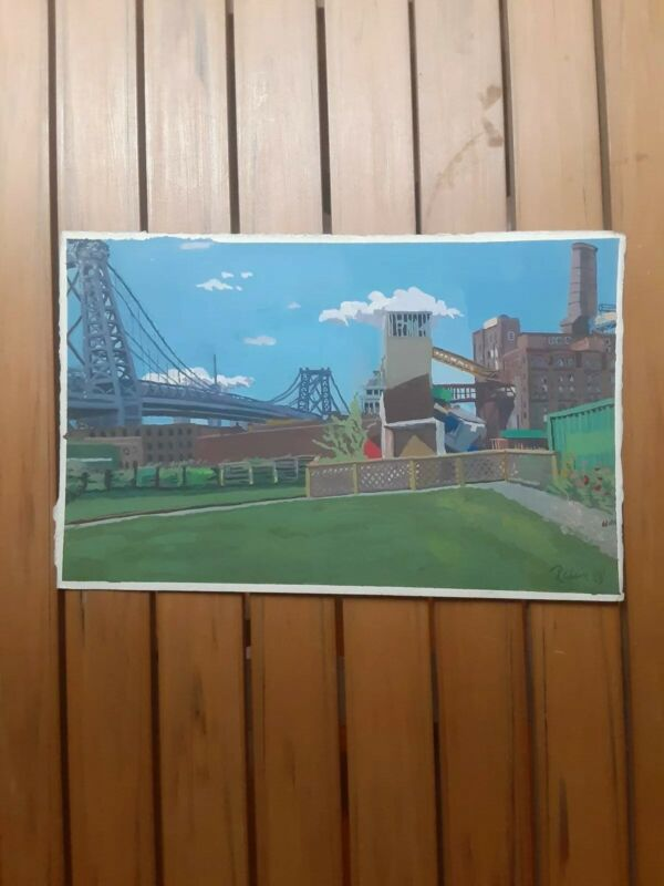 "Behind Williamsburg Bridge Brooklyn NYC Small Painting 7"" × 11"""