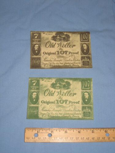 Old Weller - The Original 107 Proof Kentucky Bourbon Whiskey Labels. Rare - Mint