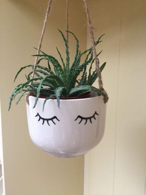 Eyelash Hanging Plant Pot Planter Ceramic Indoor House Eyes Closed Face