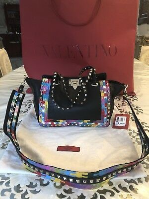 100% Authentic Valentino Rockstud Small Pebbled Leather Tote- Black Brand New