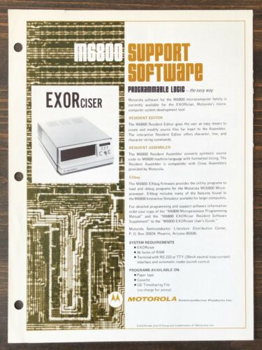 Motorola - 6800 EXORciser System Development Tool Sales Brochure (1976)