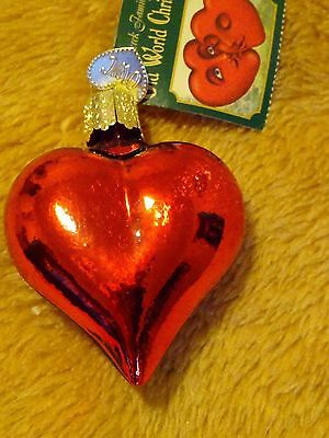 Old World Merck Family Christmas blown glass Ornament Shiny Red Heart IOB