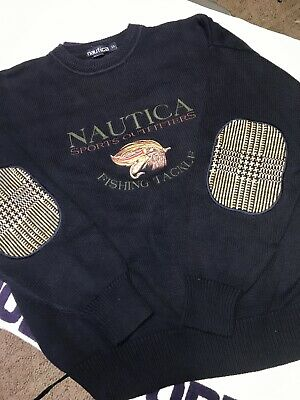 Vintage Nautica Fly Fishing Tackle Sweater Elbow Patches 90s Wu Tang Large Lrg