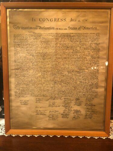 US Declaration of Independence July 4 1776 Antique Vintage Framed Wood with Gold