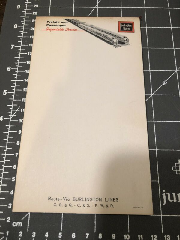 Burlington Route Burlington Lines freight  passenger Note Pad Vintage Railroad