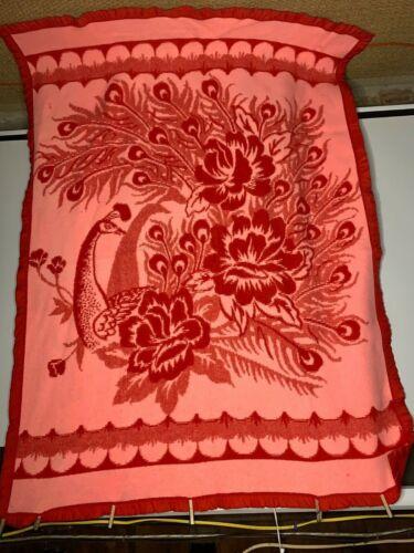 Vtg 50s 60s Floral Peacock Camp Blanket Factory 77 x 56 Red Pink Satin Trim