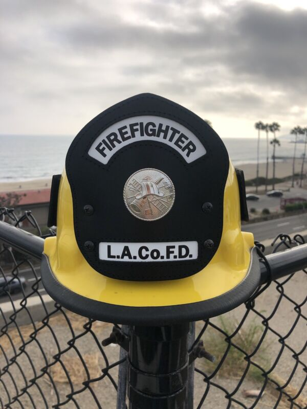 LOS ANGELES County FIRE DEPARTMENT HELMET STATION LEATHER Front LAFD California