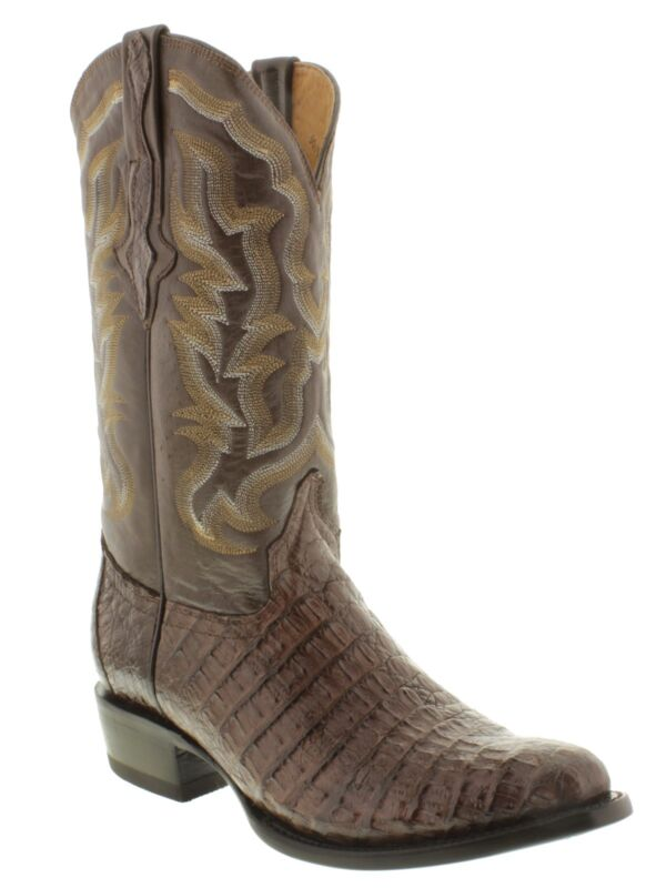 Mens, Brown, Genuine, Crocodile, Alligator, Flank, Skin, Leather, Cowboy, Boots, Round