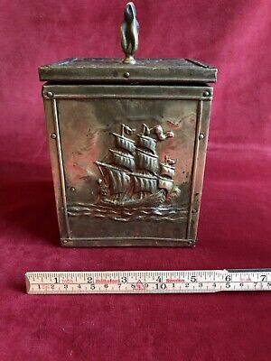Brass Ships Tea Caddy Or Tobacco Tin