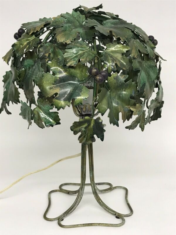 Italian Toleware Lamp With Grapes And Grape Leaves