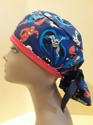 DC Super Heroes Red Women's Ponytail Surgical Scrub Hat/Cap - Women Super Heroes