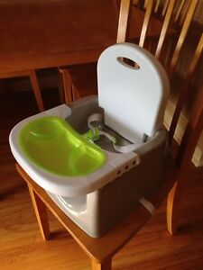 Portable high chair booster seat attaches to a chair